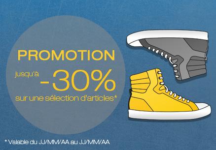 Promotion jusqu'à - 30% sur une sélection d'articles