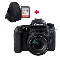 CANON EOS 77D + 18-55mm IS STM + SD 16Go + sac à dos photo Canon 300EG