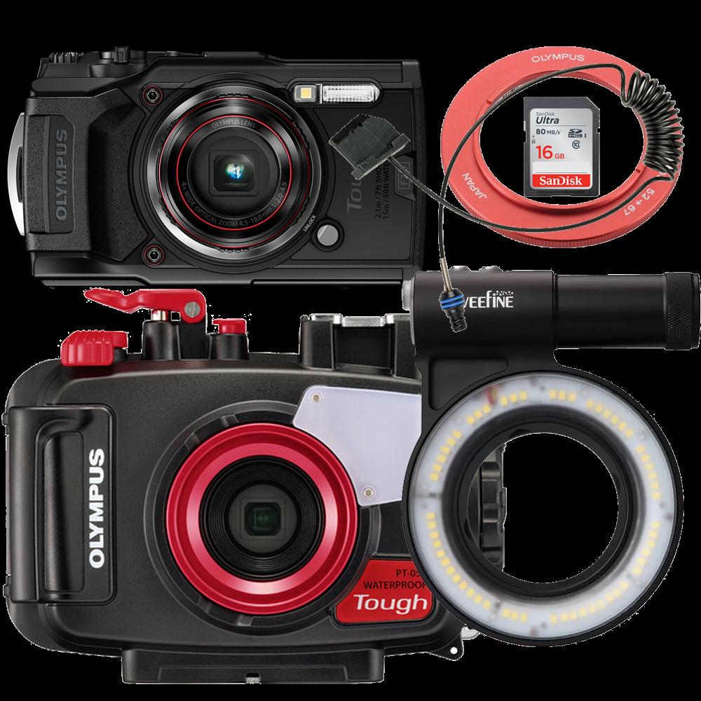 Olympus pack TG6 avec caisson PT059, SD16, et LG-3000 et bague adaptatrice