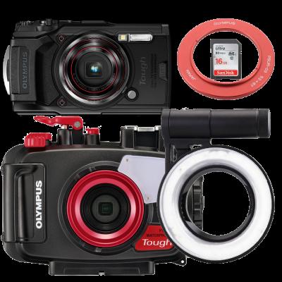 Olympus pack TG6 avec caisson PT059, SD16, et LG-67 et bague adaptatrice