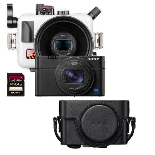 Pack Sony RX100 M6 avec caisson Ikelite RX100 M6 étui cuir et carte SD64